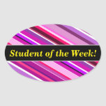 [ Thumbnail: Student Praise + Pink, Purple Stripes Pattern Sticker ]