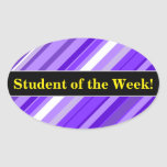 [ Thumbnail: Student Praise + Purple and White Striped Pattern Sticker ]
