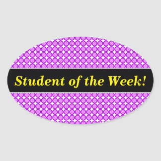 Student Praise + Purple Dots/Circles Pattern Oval Sticker