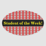 [ Thumbnail: Student Praise; Red and Gray Diamond Shape Pattern Sticker ]
