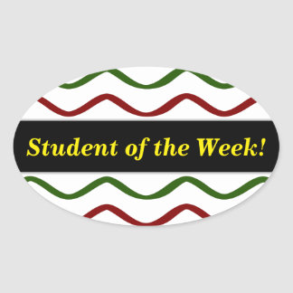 Student Praise + Red & Green Wavy Lines Pattern Oval Sticker