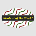 [ Thumbnail: Student Praise + Red & Green Wavy Lines Pattern Sticker ]