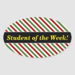 [ Thumbnail: Student Praise; Red, White & Green Striped Pattern Sticker ]