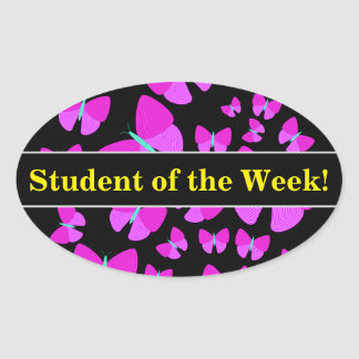 Student Praise + Swarm of Artistic Butterflies Oval Sticker