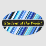 [ Thumbnail: Student Praise + Various Shades of Blue Stripes Sticker ]