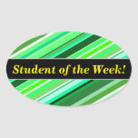 [ Thumbnail: Student Praise + Various Shades of Green Stripes Sticker ]