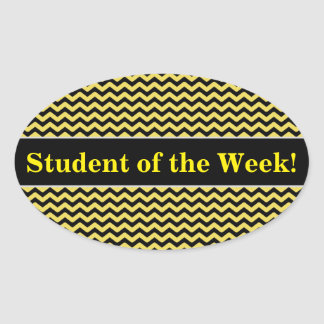 Student Praise + Yellow & Black Wavy Line Pattern Oval Sticker
