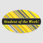 [ Thumbnail: Student Praise + Yellow & Gray Stripes Pattern Sticker ]