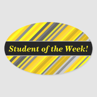 Student Praise + Yellow & Gray Stripes Pattern Oval Sticker