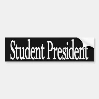 """""""Student President"""" White on Black Bumper Sticker"""