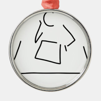 student pupil philosopher learn round metal christmas ornament