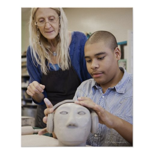 Student sculpting bust in classroom print