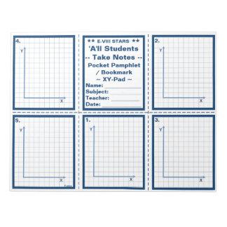 "Student ""Take Notes"" Pocket Pamphlets / Bookmarks Memo Pad"