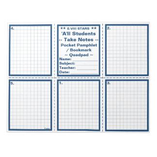 "Student ""Take Notes"" Pocket Pamphlets / Bookmarks Note Pads"