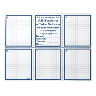 "Student ""Take Notes"" Pocket Pamphlets / Bookmarks Notepad"