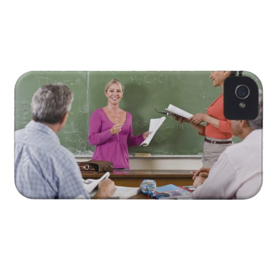 Student talking to class and standing by teacher iPhone 4 case