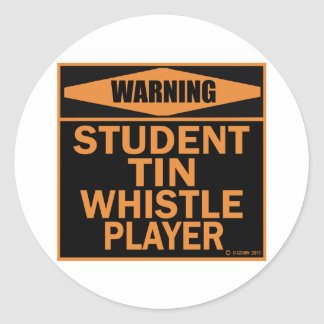 Student Tin Whistle Player Classic Round Sticker