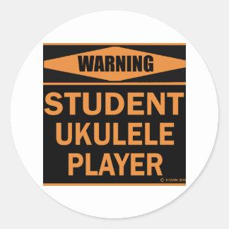 Student Ukulele Player Classic Round Sticker