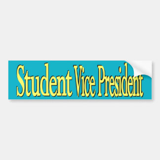 """""""Student Vice Pres"""" Yellow/Cerulean Bumper Sticker"""