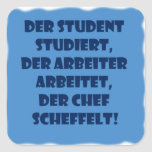 Student, worker and boss square stickers