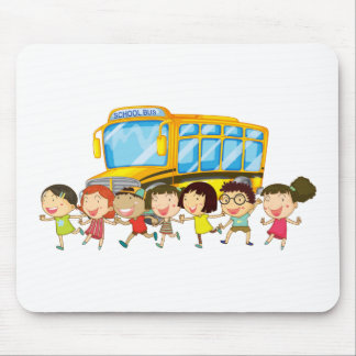 Students and school bus mouse pad