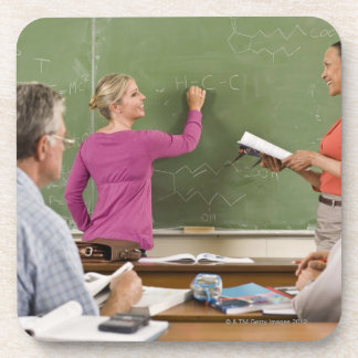 Students and teacher in classroom drink coaster