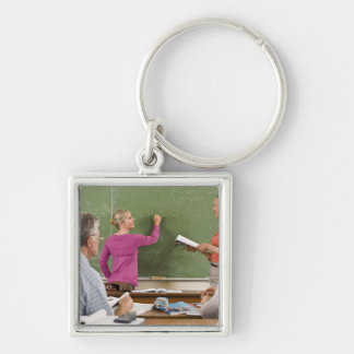 Students and teacher in classroom keychain