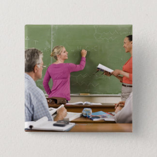 Students and teacher in classroom pinback button
