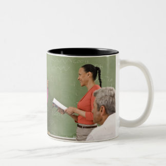Students and teacher in classroom Two-Tone coffee mug