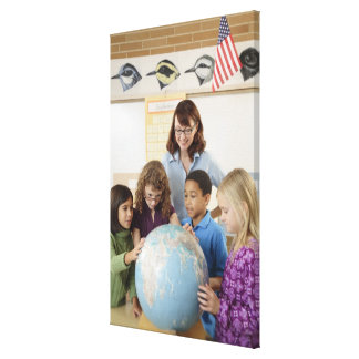 students and teacher with globe canvas print