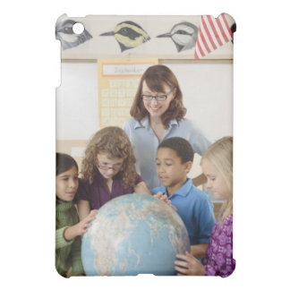 students and teacher with globe cover for the iPad mini