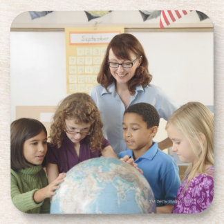 students and teacher with globe drink coaster