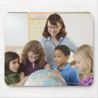 students and teacher with globe mouse pad