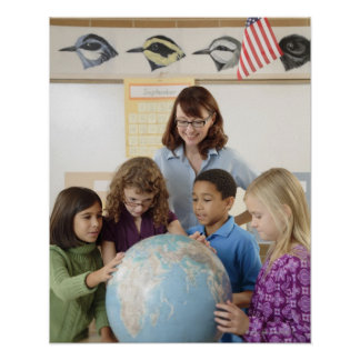 students and teacher with globe poster