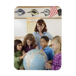 students and teacher with globe rectangular photo magnet
