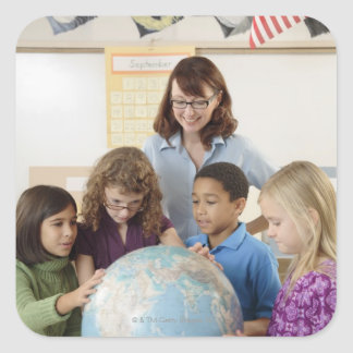 students and teacher with globe square sticker