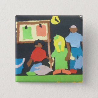 Students Cleaning Paper Collage by Willowcatdesign Pinback Button