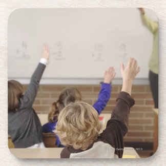 students in classroom drink coaster