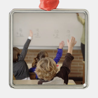 students in classroom metal ornament
