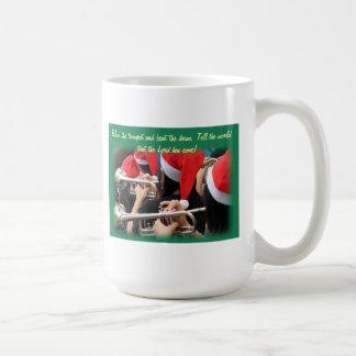 Students in Santa Hats Blow Christmas Trumpets Coffee Mug