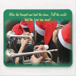 Students in Santa Hats Blow Christmas Trumpets Mouse Pad