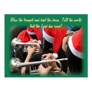 Students in Santa Hats Blow Christmas Trumpets Postcard