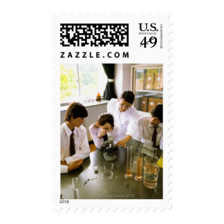 Students in School Chemistry Lab Postage