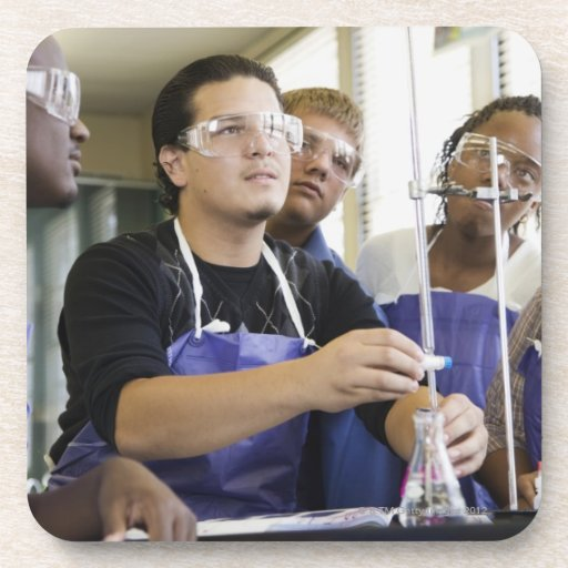 Students performing experiment in chemistry lab drink coaster