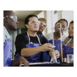 Students performing experiment in chemistry lab poster