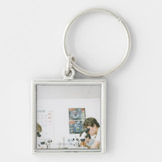 Students with Microscopes Keychain