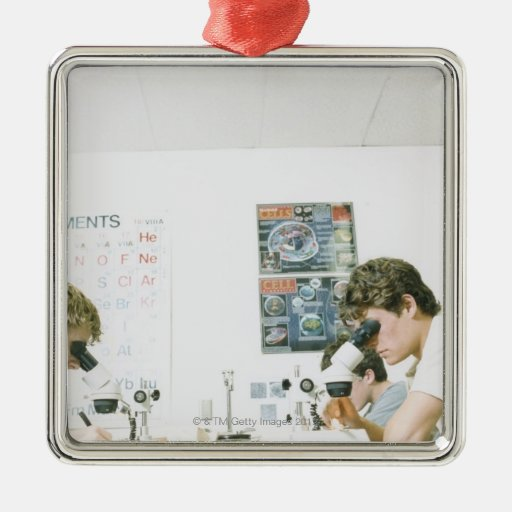 Students with Microscopes Metal Ornament