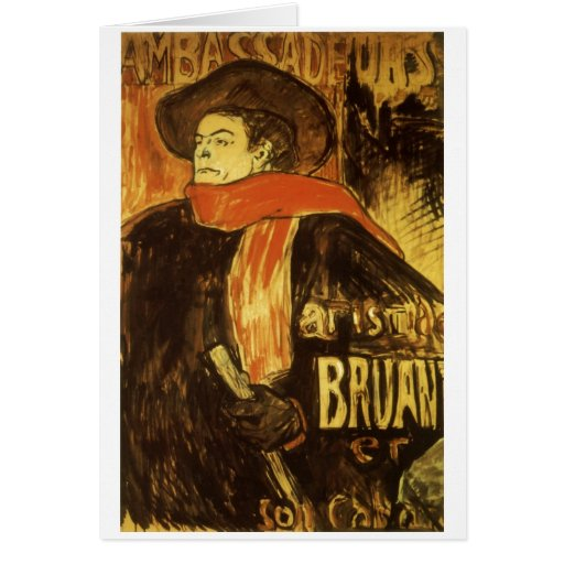 Studie de Aristide Bruant Toulouse-Lautrec 1892 Tarjeta De Felicitación
