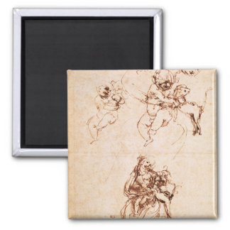 Studies for a Madonna with a Cat, c.1478-80 2 Inch Square Magnet