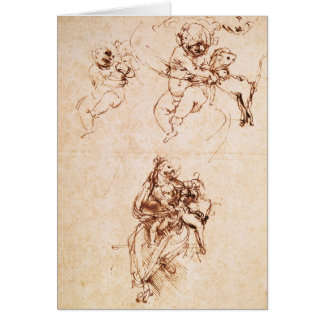 Studies for a Madonna with a Cat, c.1478-80 Card